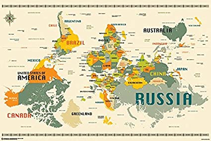 Upside Down World Map Amazon.com: World Map Upside Down Poster (24x36) PSA011350