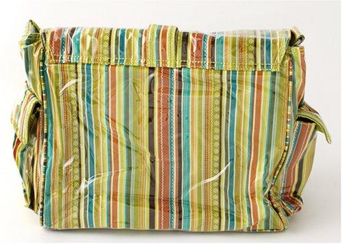 Kalencom Fashion - Bolso cambiador con accesorios, diseño de lunares, color marrón y azul Pretty Stripe Pistachio