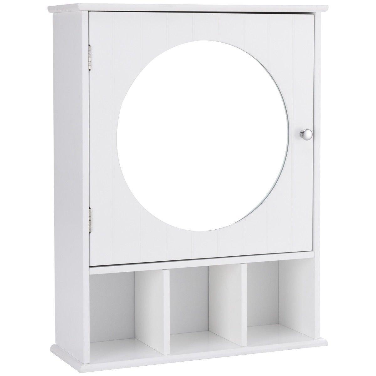 Beenaspiring Bathroom Wooden Wall Mount Storage Organizer Shelf Mirror Door Cabinet Sideboard