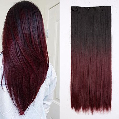 Long Ombre Clip in Hair Extensions Hairpiece 2-tone Ombre Co