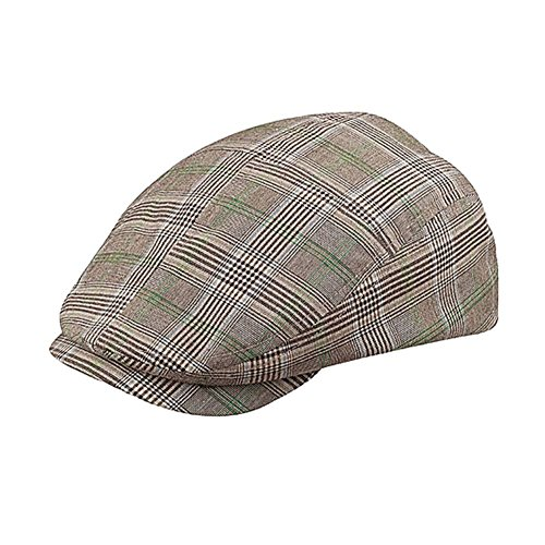 MG Men's Plaid Ivy Newsboy Cap Hat (Brown, Medium) for sale  Delivered anywhere in USA