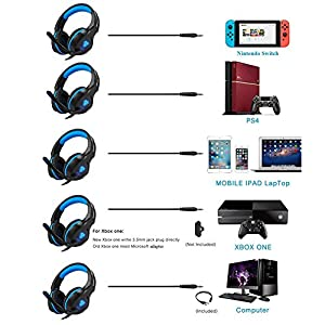 Gaming Headset for Xbox One PS4, Gintenco Foldable Noise Cancelling Ear Headphones with Microphone and LED Lights Surround Stereo Volume Control Headsets for PC Laptop Mac Nintendo Switch Game (Blue)