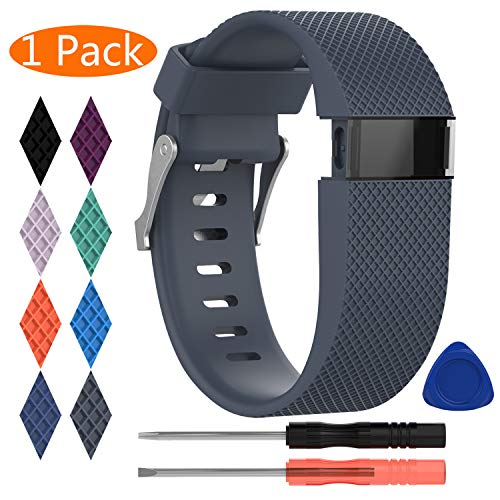 KingAcc Compatible Replacement Bands for Fitbit Charge HR, Soft Silicone Band with Metal Buckle Fitness Wristband Sport Strap Women Men (1-Pack, Rock Blue/Slate, Small)