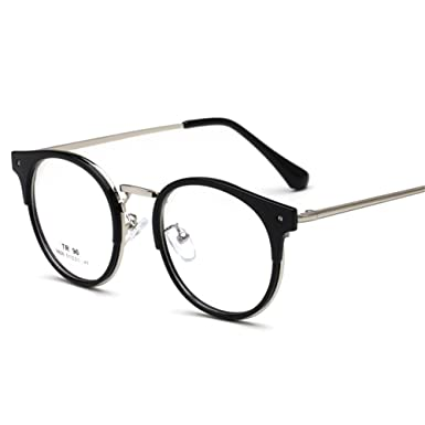 64dd3cf58962 Round Eyeglasses Unisex - TR90 Metal Frame Glasses Clear Lens Fashion  Vintage Glasses Plain Eyewear for Men  Amazon.co.uk  Clothing