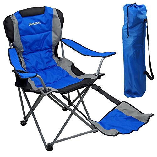 Chair Footrest Folding Chair - Outdoor Quad Camping Chair - Lightweight, Portable Folding Design - Adjustable Footrest, Cup Holder, Storage Carrying Bag – Durable Material, Steel Frame - by GigaTent