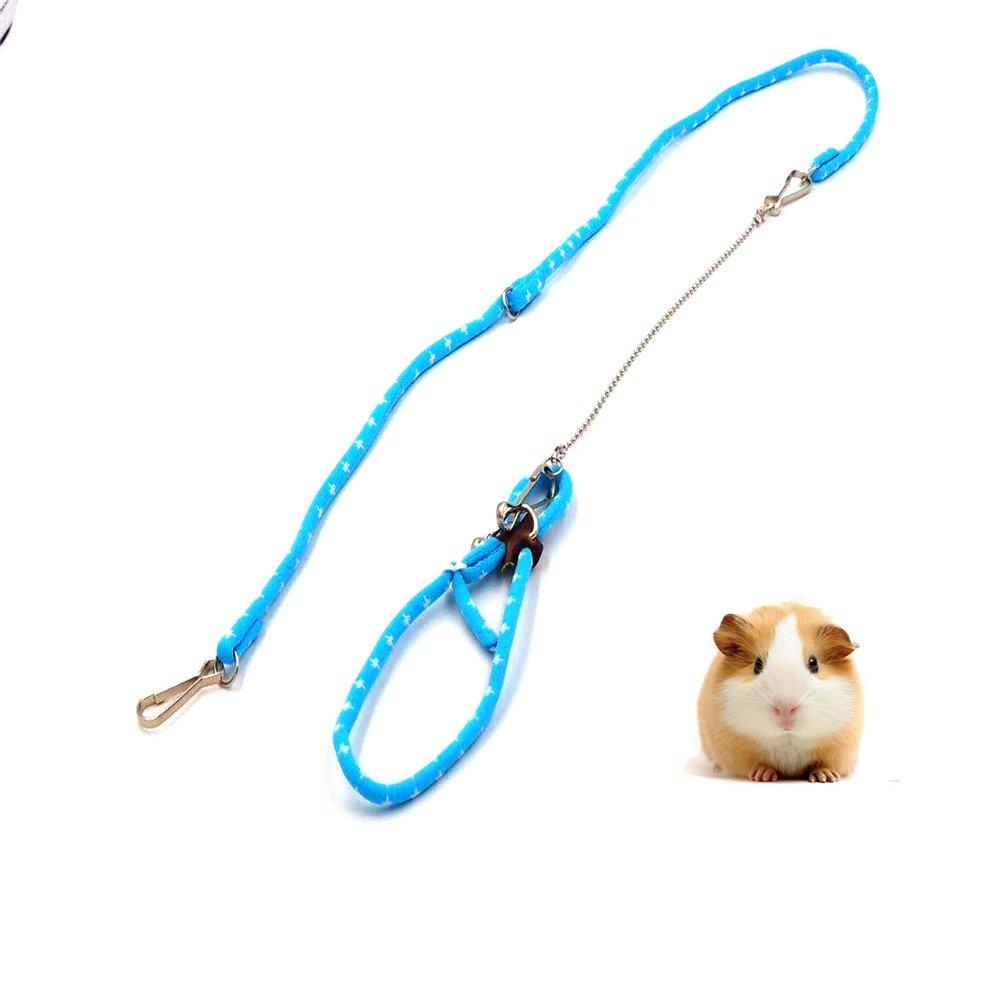 Hapa Pet Rat Mouse Leash Lead Harness Adjustable Rope Hamster Finder Bell (Blue/Pink,Random Color)
