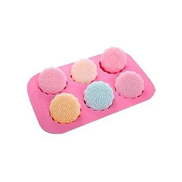 fasters molde redondo mezclados Pastel de luna Chocolate Jello jabón Barra de Jabón Molde de silicona: Amazon.es: Hogar