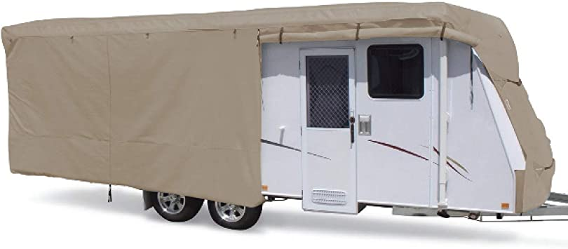Fits 14-16ft Travel Trailer Summates Travel Trailer Cover RV Cover,Color Gray 3 Layer Polypropylene Fabric,192 L x 105 W x 108 H