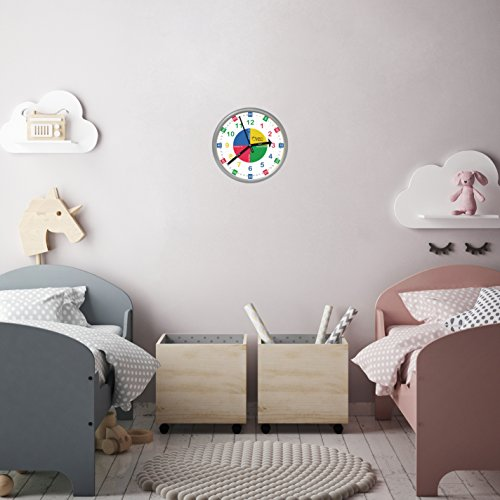 Educational Wall Clock - Silent Movement Time Teaching Clock Perfect for Teacher's Classrooms and Kid's Bedrooms by Teachers Choice (Image #2)