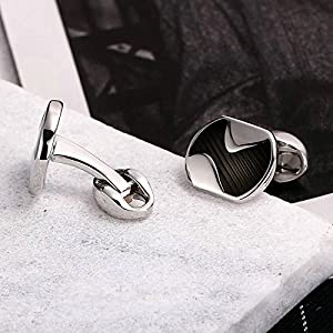 MoAndy Stainless Steel Mens Cuff Links Rounded Square Twill Stripes Black