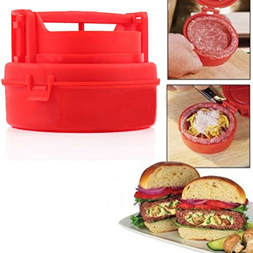 Stuffed Hamburger Burger Press Mould Plastic Novelty Compact Kitchen Tool Red - 1