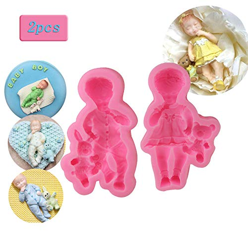 WYD 3D Lovely Baby Cake Decoration Mold,Cooking Decoration Tools,Silicone Mold Fondant Molds,Fondant for Cake Decoration Tools (Girl + Boy) (3d Molds Clay)