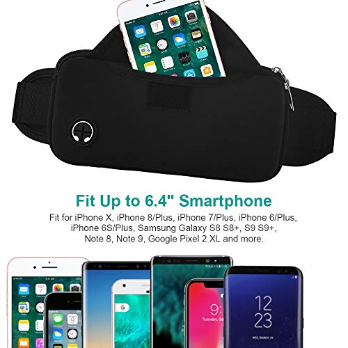 Aisver Fanny Packs Waist Bag for Women & Men, Waterproof Lightweight Phone Holder Running Belt Compatible for iPhone X 8 7 Plus, Galaxy S9 S8 S7, Adjustable Strap for Gym Traveling Hiking Cycling by Aisver (Image #2)