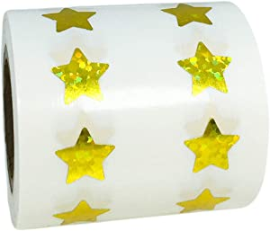 Gold Holographic Sparkle Star Shape Stickers Teacher Supplies 0.50 Inch 1,000 Adhesive Labels