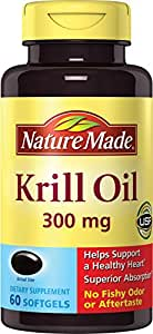 Nature Made Krill Oil 300 mg Softgels w. Omega-3s EPA, DHA and Astaxanthin 60 Ct