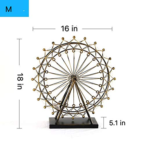Kuso Hand Forged Wrought Crafts Iron Metal Ferris Wheel Statue with String Lights, Tabletop Ornaments for Home Furnishing Decoration (Antique Brass, M)
