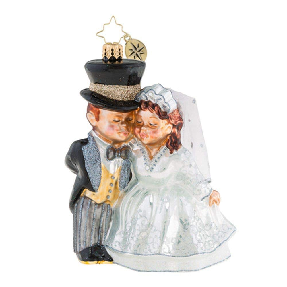 Christopher Radko An Altared State Bride and Groom Wedding Themed Glass Ornament
