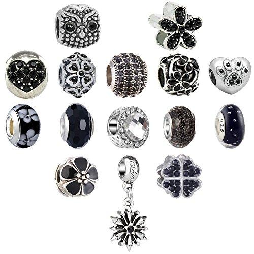 N'joy 16PC Assorted Crystal Rhinestone Charm Beads,Clap,Stoper,Dangle Pendant,Fit European Charm Bracelet,April Birthstone (Flower-Black)
