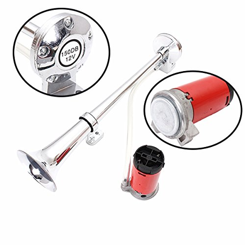 Zento Deals 12V Single Trumpet Air Horn Single Trumpet Air Horn + Compressor Powerful Loud 150db for Truck Boat SUV Train by Zento Deals (Image #2)