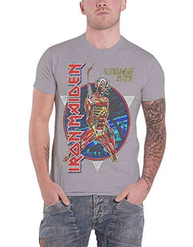 Iron Maiden T Shirt Somewhere In Time Vintage Band Logo Official Mens Grey