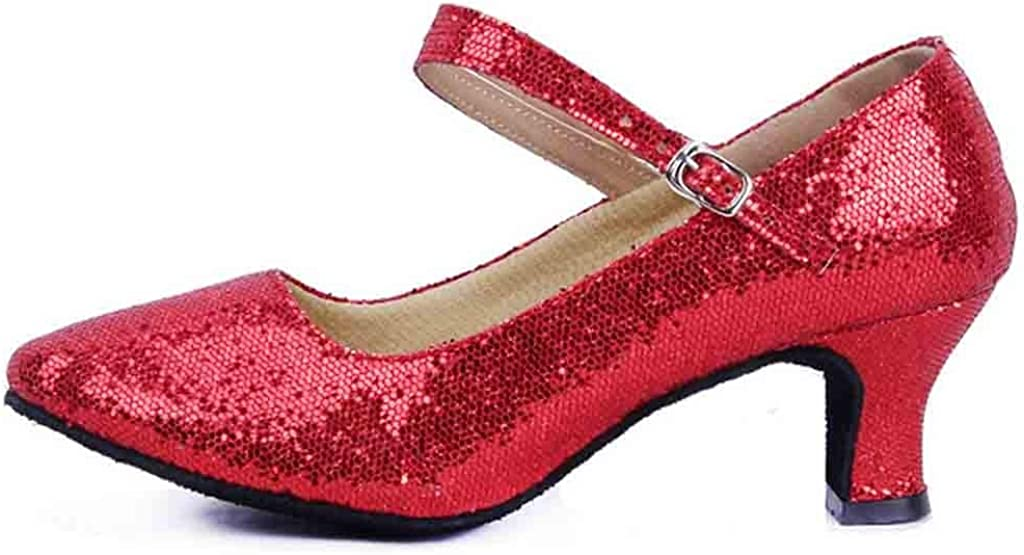 Clemunn Women Shoes Womens Sequin Mid-High Heels Glitter Dance Shoes Ladies Ballroom Latin Tango Rumba Buckle Ankle Strap Spike Heels Party Casual Shoes
