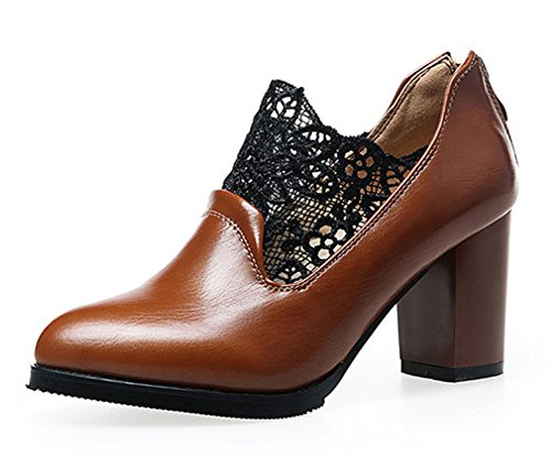 Aisun Womens Elegant Laces Zipper Dress Pointed Toe Stacked Medium Heels Pumps Shoes Brown