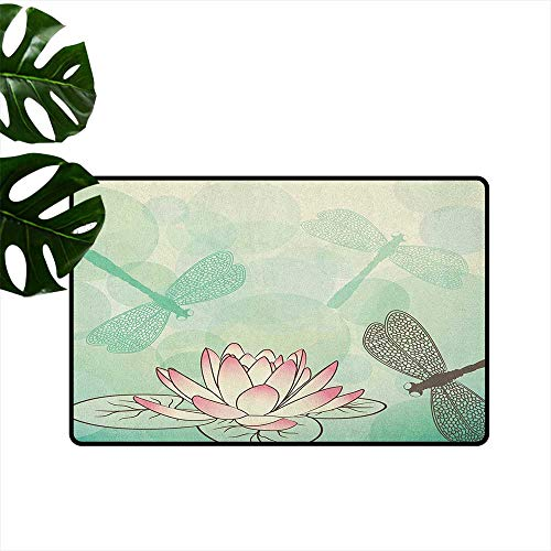 RenteriaDecor Lotus Flower,Custom Door mats Exotic Blossom with Pinkish Petals Water Lily and Dragonflies on Pale Green 36