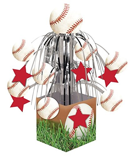 Pack of 6 Baseball Sports Fanatic Mini Cascade Foil Tabletop Centerpiece Party Decorations 8.5'' by Party Central (Image #1)