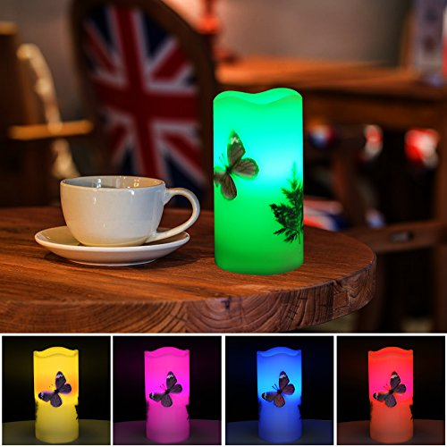 LED Candles Flameless Battery Operated with Remote Timer 6'' Tealight Butterfly & Plants Decor Real Wax Electric Candle Lights 12 Color Changing for Home&Kitchen Indoor/Outdoor Party by Wending (Image #6)