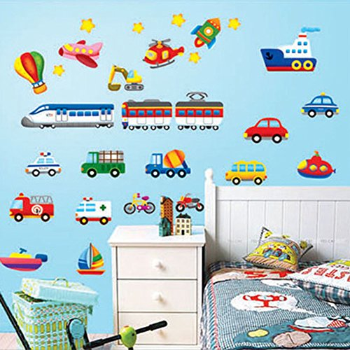 Wallpark Cartoon Transportation -Car Train Airplane Boat - Removable Wall Sticker Decal, Children Kids Baby Home Room Nursery DIY Decorative Adhesive Art Wall Mural