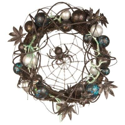 18 in. Halloween Wreath with Ornaments and Black Spider in the -