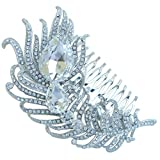 Sindary Wedding Headpiece 4.33'' Rhinestone Crystal Bridal Peacock Feather Hair Comb (Silver-Tone Clear)