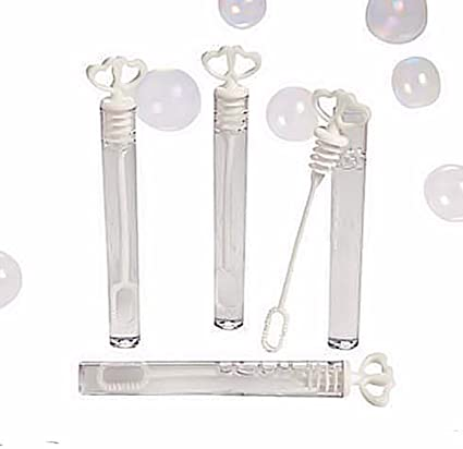 Amazon.com: 100 White Heart Bubble Tube Favors - Great Wedding Favor ...