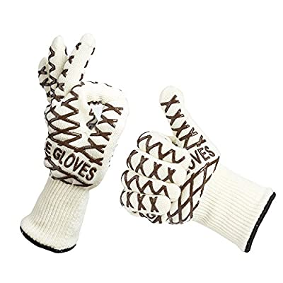 Agirlgle 932°F Heat Resistant BBQ Grill Gloves(1 Pair) with Extra long Cuff Made For Grilling, Cooking, Baking & Smoking - FDA Approved Barbecue Insulated Cooking Gloves - Use As Oven Mitts