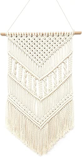 QTKJ Hand-Woven Macrame Wall Hanging, Boho Chic Beige Cotton Tapestry for Apartment Bedroom Living Room Home Decor,19.6 Wx 29.5 L