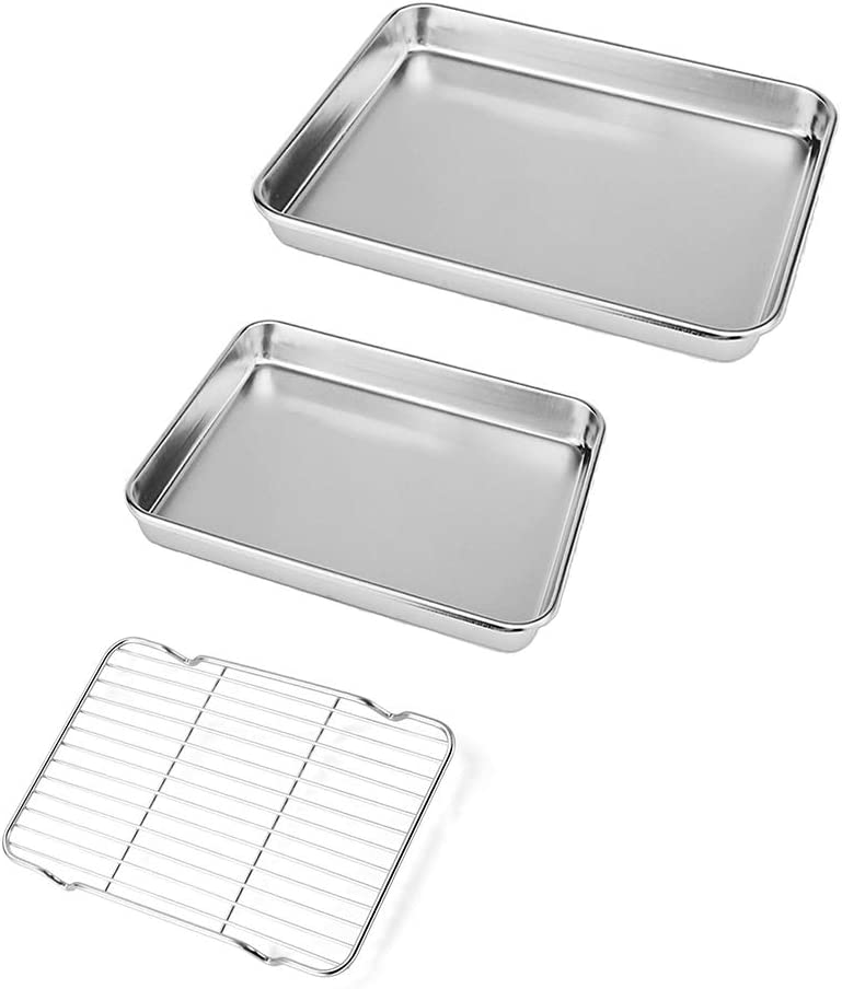 Neeshow Stainless Steel Toaster Oven Pan Tray Ovenware Professional, Heavy Duty & Healthy, Deep Edge, Superior Mirror Finish, Dishwasher Safe,Set of 3