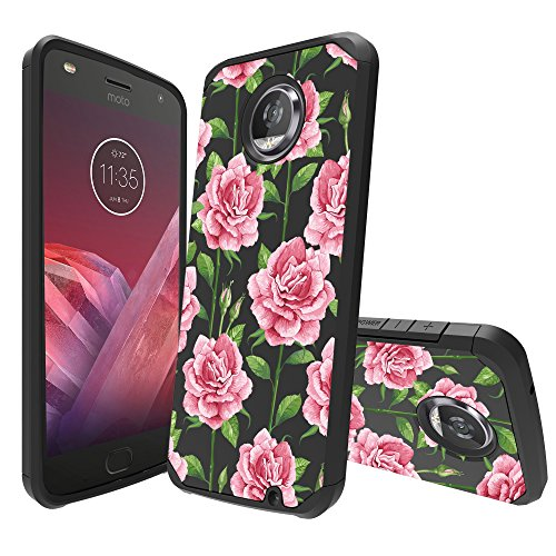 MINITURTLE Case Compatible with Motorola Moto Z2 Play / Z2 Force [Floral Print Series][Cute Hybrid Case for Girls][Floral Print][2-Part Silicone & Shell Case] - Faded Pink Rose (Moto 4g Best Price)