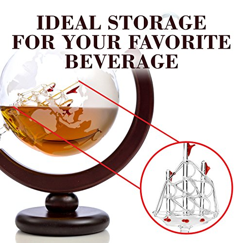 Whiskey Globe Decanter (28 Ounce) Etched World Globe Decanter Set for Liquor, Bourbon, Vodka in Premium Gift-Box - Home Bar Accessories for Men - Perfect for All Kinds of Alcohol Drinks