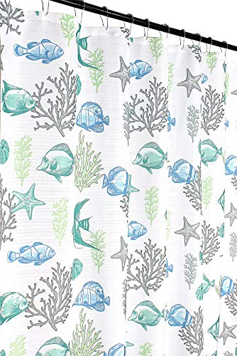 "Deep Sea Fabric Shower Curtain: Ocean Life Fish Theme, Teal Blue Green Grey White, 70"" x 72"" Inches"