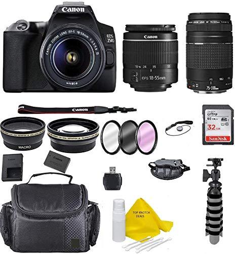 Canon EOS 250D / Rebel SL3 Digital SLR Camera Body w/Canon EF-S 18-55mm f/3.5-5.6 Lens 3 Lens DSLR + Canon 75-300 lens…