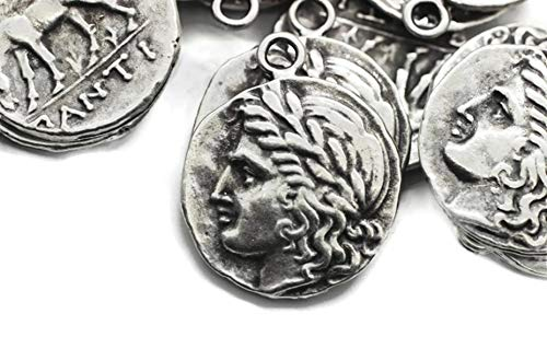 Golden Horn Jewelry Supplies 1pc Matt Silver Coins, 26x30 mm Silver Pendant, Double Side Charms, Horse Coin Charms, Medallion Pendant, Caesar Coins, Ancient Rome Coins