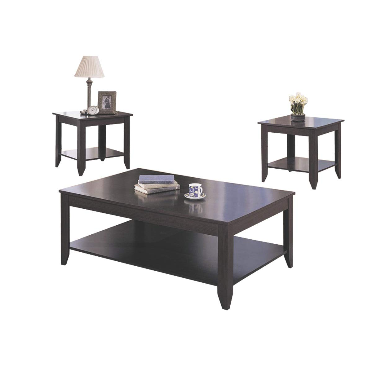 Coaster Home Furnishings 3-piece Occasional Table Set with Shelves Cappuccino by Coaster Home Furnishings