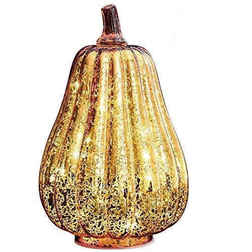 Halloween Pumpkin Lantern Light, JackoLantern Decorative Pumpkins Mercury Glass Decor Fall Decorations led Timer Candles Battery Operated Medium -