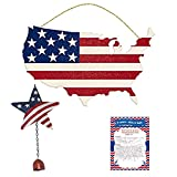 Americana Fourth of July Party USA Flag Hanging Sign Summer Decoration Rustic Wind Chime July 4th Party Décor Red White Blue Pack & Recipe Set