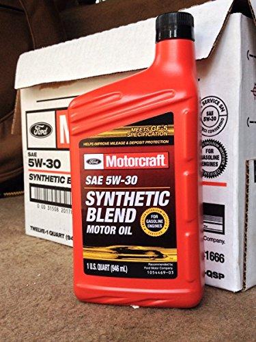 motorcraft sae 5w30 synthetic blend motor oil 12 quart case. Black Bedroom Furniture Sets. Home Design Ideas