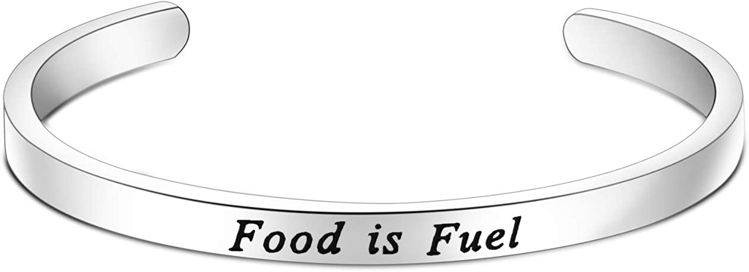 FOTAP Food is Fuel Bracelet Dietitian Gift Health Fitness Gift Hand Stamped Cuff Bracelet Nutrition Inspiration Gift Eating Disorder Ana Recovery Gift Nutritionist Gift