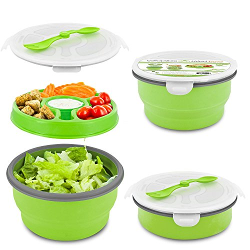 Smart Planet Eco Collapsible Salad Bowl, 65 oz, Green (Best Salad Lunch Box)