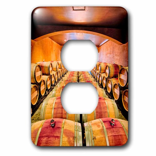 3dRose lsp_207271_6 Usa, Washington, Red Mountain. Barrel Cellar In Washington Winery. - 2 Plug Outlet Cover