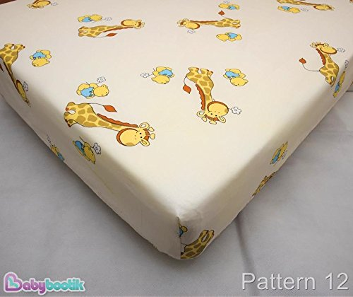 Baby Cot Cotton Fitted Sheet 120x60 cm, Fits Cot - Pattern 12 Baby Comfort