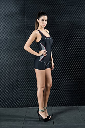 5d6e0fa2a8b9 ... Quibine Damen Sport Figuroptimizer Badeanzug One Piece Racerback Scoop  Neck Badeanzug mit Boxer Hose Badeanzug Bademode